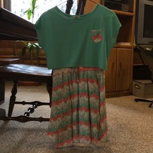 Other - Real, coral, and white chevron patterned dress.
